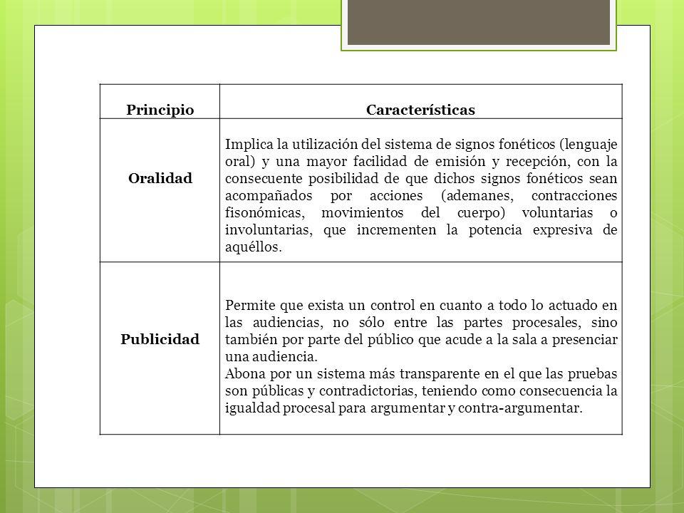 PrincipioCaracterísticas Oralidad Implica la utilización del sistema de signos fonéticos (lenguaje oral) y una mayor facilidad de emisión y recepción,