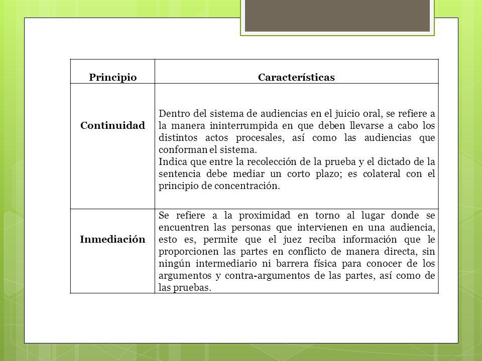 PrincipioCaracterísticas Continuidad Dentro del sistema de audiencias en el juicio oral, se refiere a la manera ininterrumpida en que deben llevarse a