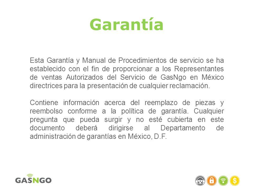 Garantía Esta Garantía y Manual de Procedimientos de servicio se ha establecido con el fin de proporcionar a los Representantes de ventas Autorizados