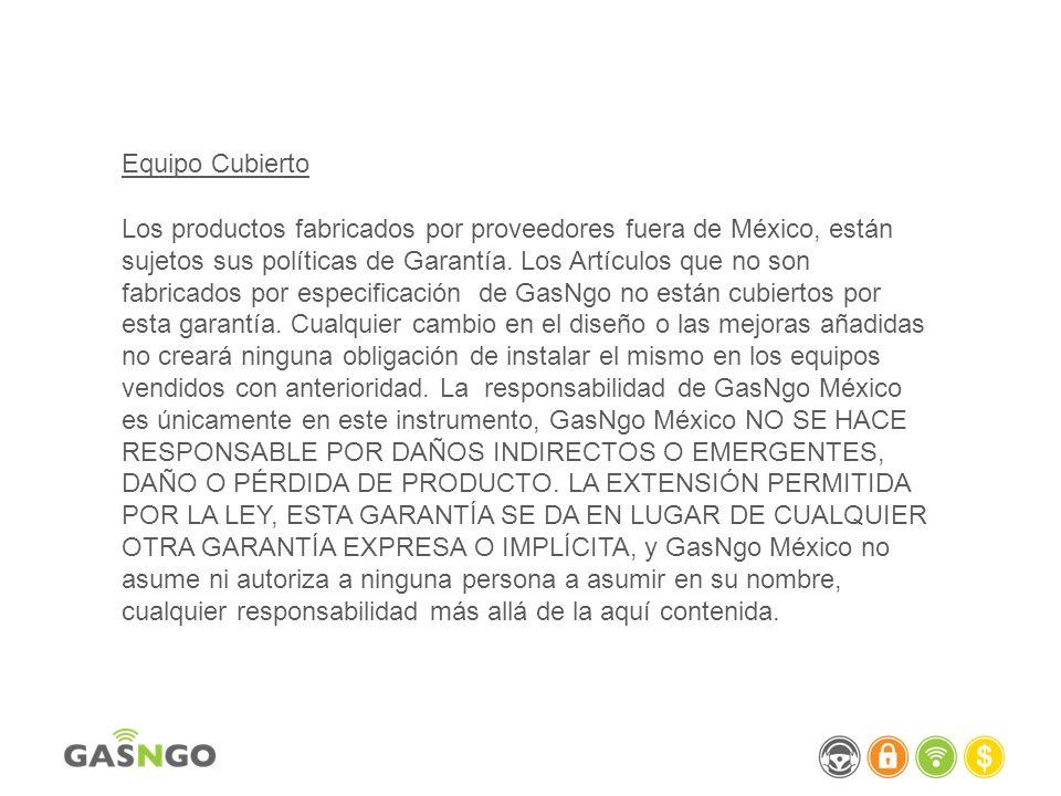Kits GasNgo México garantiza todas las piezas que figuran en los equipos contra defectos de fabricación en materiales y mano de obra bajo uso y servicio normales durante un período de 12 meses desde la fecha de la factura original de embarque desde la fábrica.
