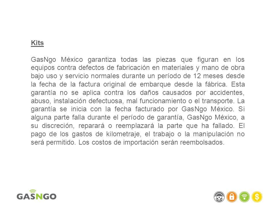 Kits GasNgo México garantiza todas las piezas que figuran en los equipos contra defectos de fabricación en materiales y mano de obra bajo uso y servic