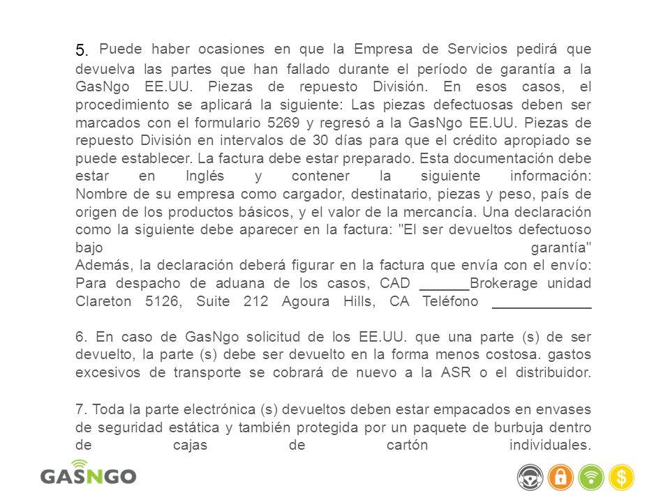 PIEZAS DE SERVICIO DE GARANTÍA El trabajo no es pagado por el trabajo de servicio en el equipo fuera del período de garantía del equipo original.