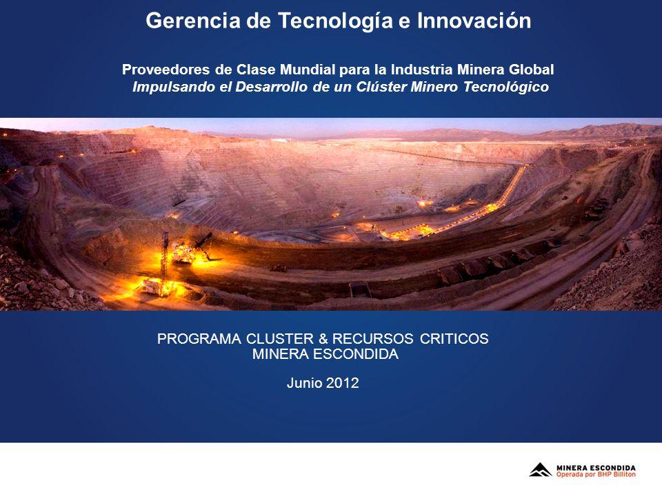 Gerencia de Tecnología e Innovación Proveedores de Clase Mundial para la Industria Minera Global Impulsando el Desarrollo de un Clúster Minero Tecnoló