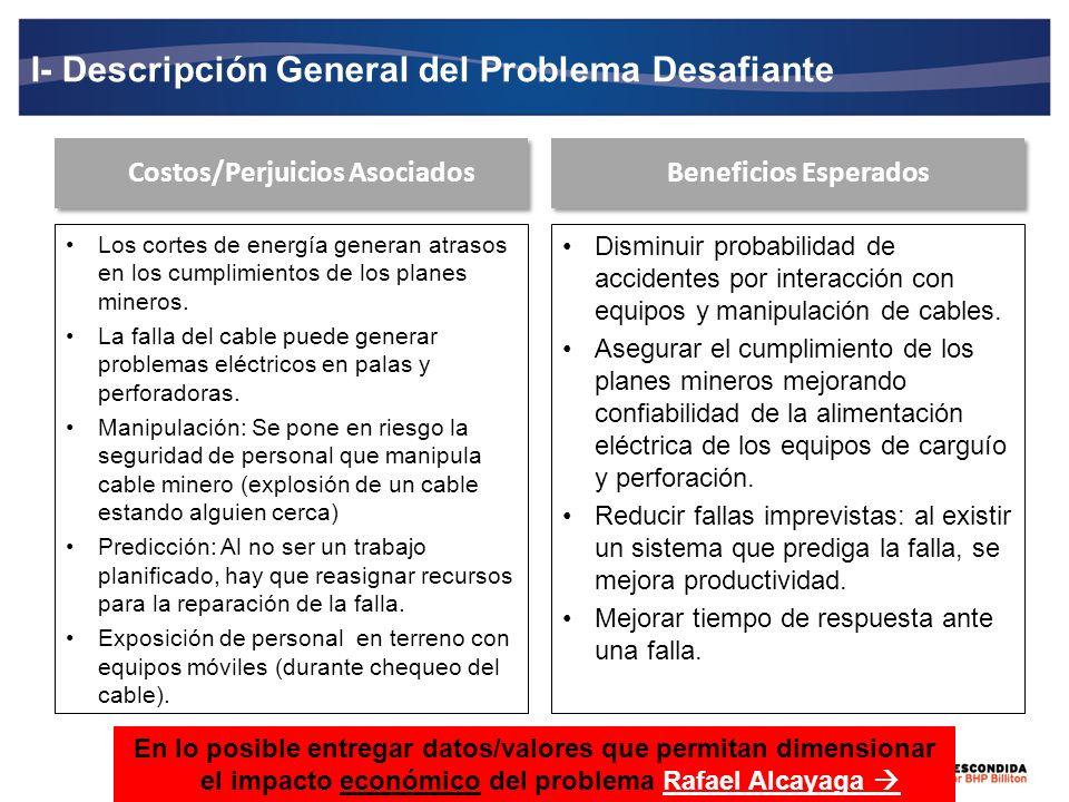 I- Descripción General del Problema Desafiante Costos/Perjuicios Asociados Disminuir probabilidad de accidentes por interacción con equipos y manipula