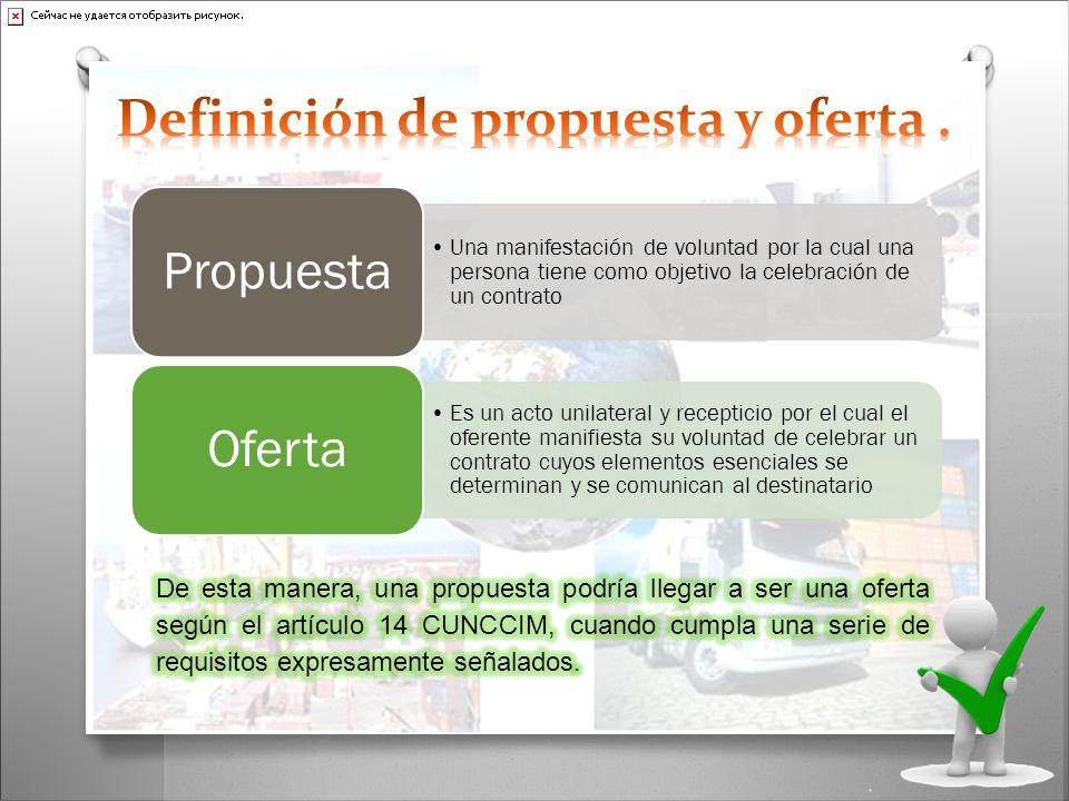 Una manifestación de voluntad por la cual una persona tiene como objetivo la celebración de un contrato Propuesta Es un acto unilateral y recepticio p