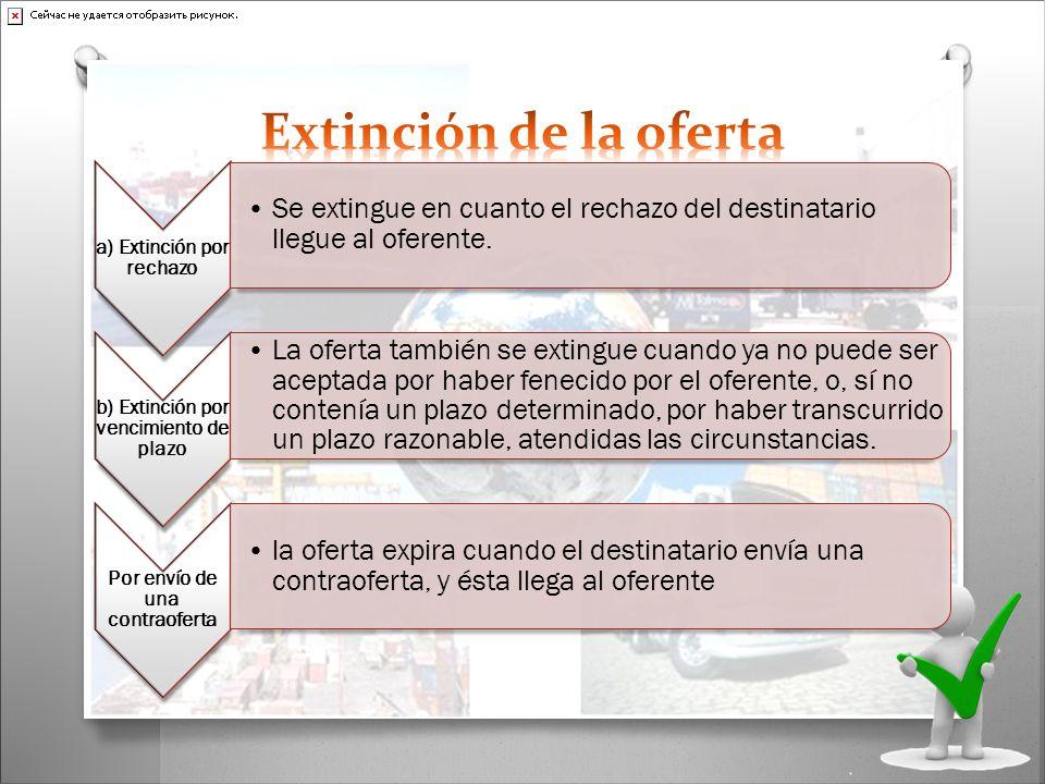 a) Extinción por rechazo Se extingue en cuanto el rechazo del destinatario llegue al oferente. b) Extinción por vencimiento de plazo La oferta también