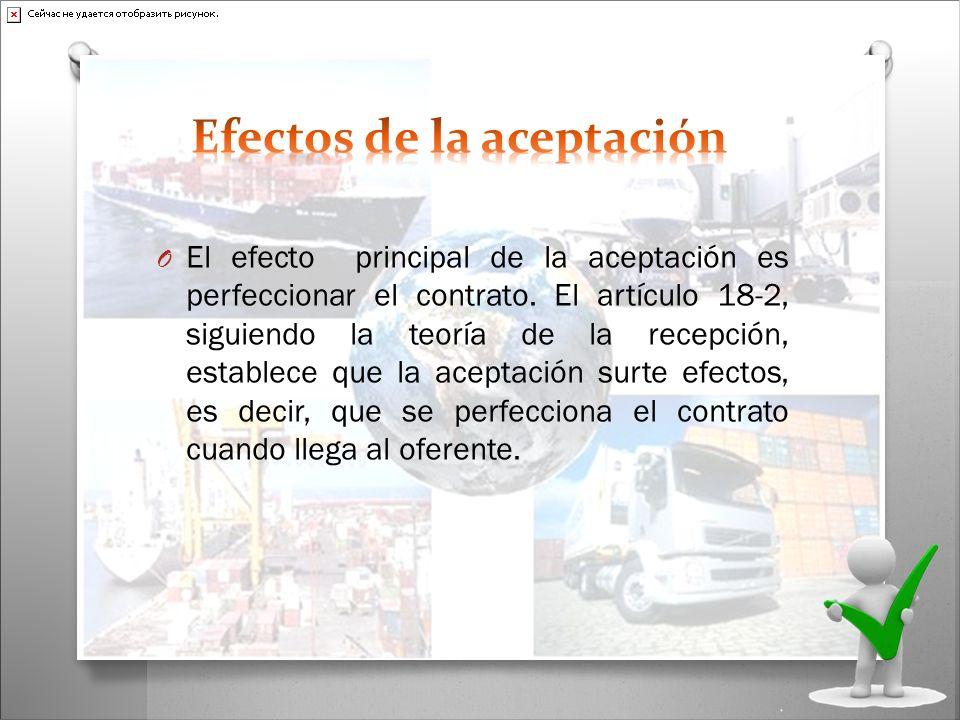 O El efecto principal de la aceptación es perfeccionar el contrato. El artículo 18-2, siguiendo la teoría de la recepción, establece que la aceptación