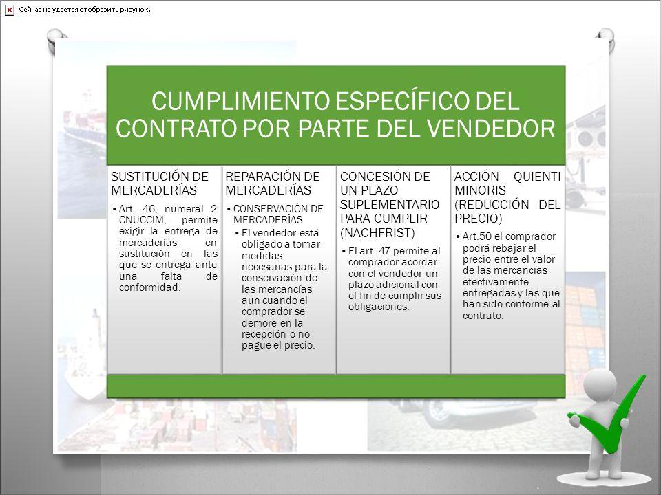 CUMPLIMIENTO ESPECÍFICO DEL CONTRATO POR PARTE DEL VENDEDOR SUSTITUCIÓN DE MERCADERÍAS Art. 46, numeral 2 CNUCCIM, permite exigir la entrega de mercad
