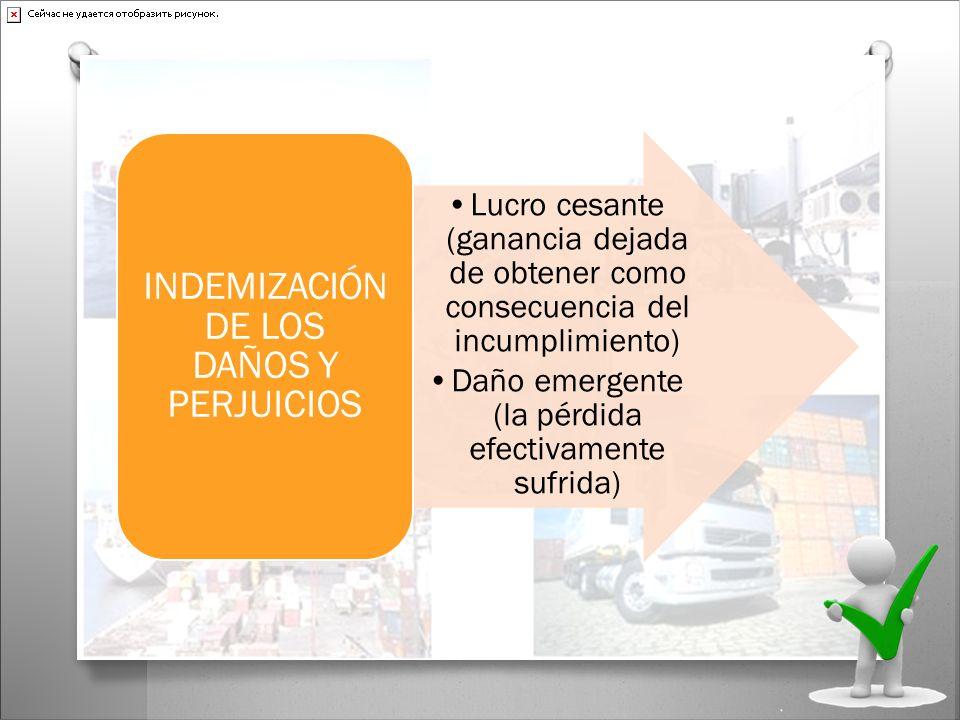 Lucro cesante (ganancia dejada de obtener como consecuencia del incumplimiento) Daño emergente (la pérdida efectivamente sufrida) INDEMIZACIÓN DE LOS