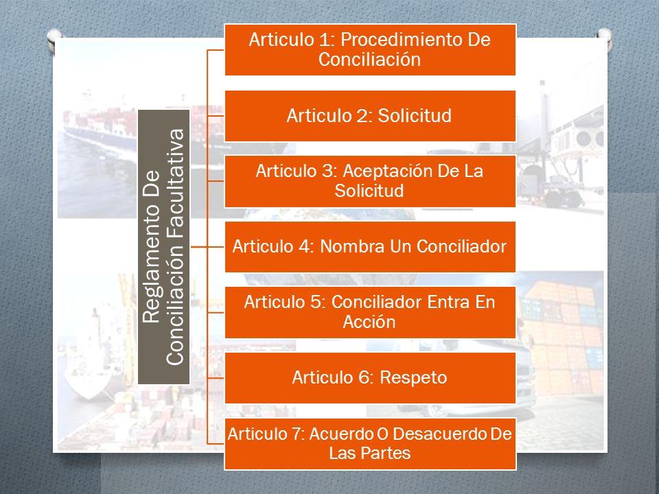 Reglamento De Conciliación Facultativa Articulo 1: Procedimiento De Conciliación Articulo 2: Solicitud Articulo 3: Aceptación De La Solicitud Articulo