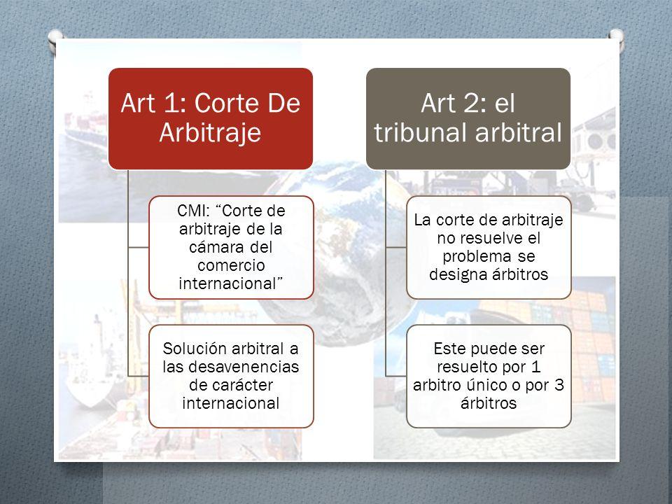 Art 1: Corte De Arbitraje CMI: Corte de arbitraje de la cámara del comercio internacional Solución arbitral a las desavenencias de carácter internacio