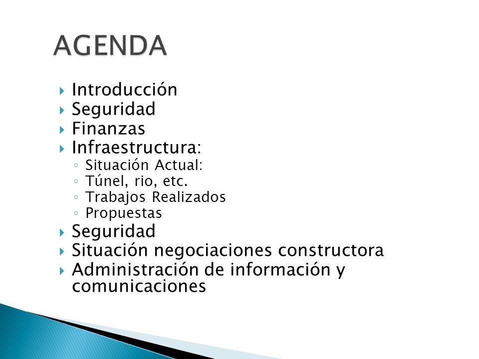 Introducción Seguridad Finanzas Infraestructura: Situación Actual: Túnel, rio, etc. Trabajos Realizados Propuestas Seguridad Situación negociaciones c