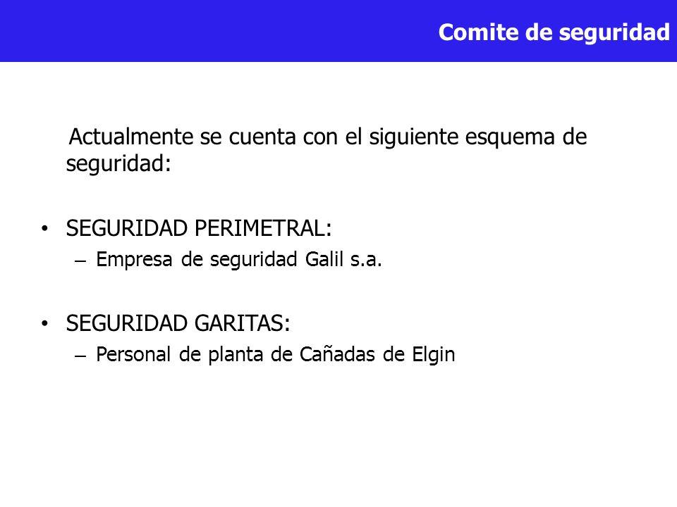 Comite de seguridad Actualmente se cuenta con el siguiente esquema de seguridad: SEGURIDAD PERIMETRAL: – Empresa de seguridad Galil s.a. SEGURIDAD GAR