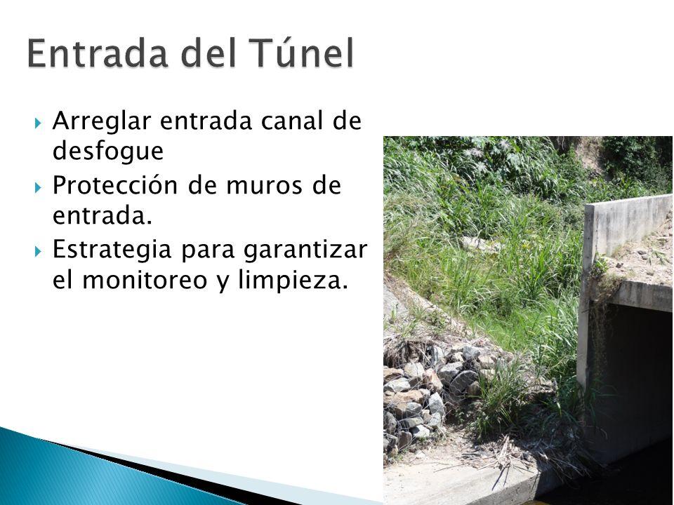 Arreglar entrada canal de desfogue Protección de muros de entrada. Estrategia para garantizar el monitoreo y limpieza.