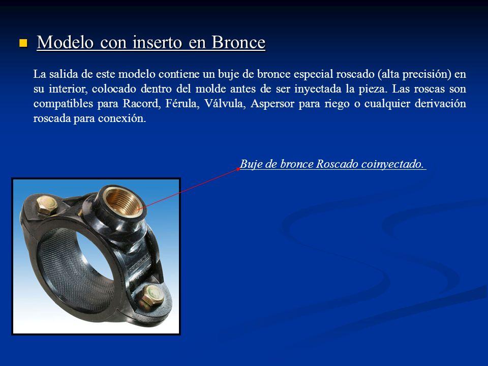 Modelo con inserto en Bronce Modelo con inserto en Bronce La salida de este modelo contiene un buje de bronce especial roscado (alta precisión) en su interior, colocado dentro del molde antes de ser inyectada la pieza.