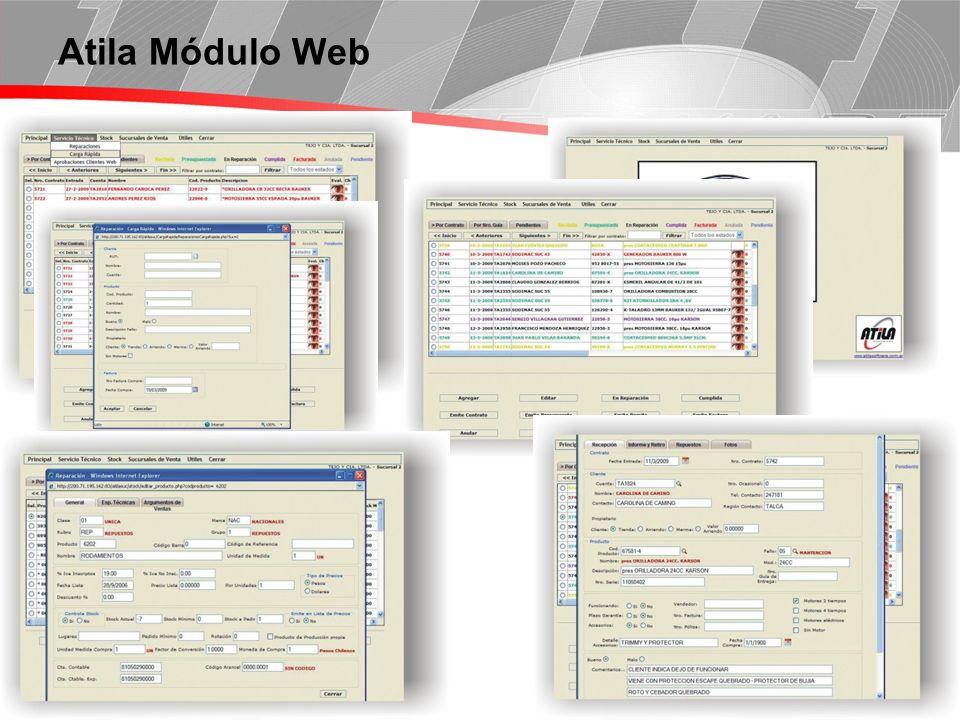 Página 6 Atila Módulo Web: Vista de las Reparaciones Para acelerar la búsqueda se pueden ordenar las reparaciones de diferentes maneras: Por Contrato Por Nro.