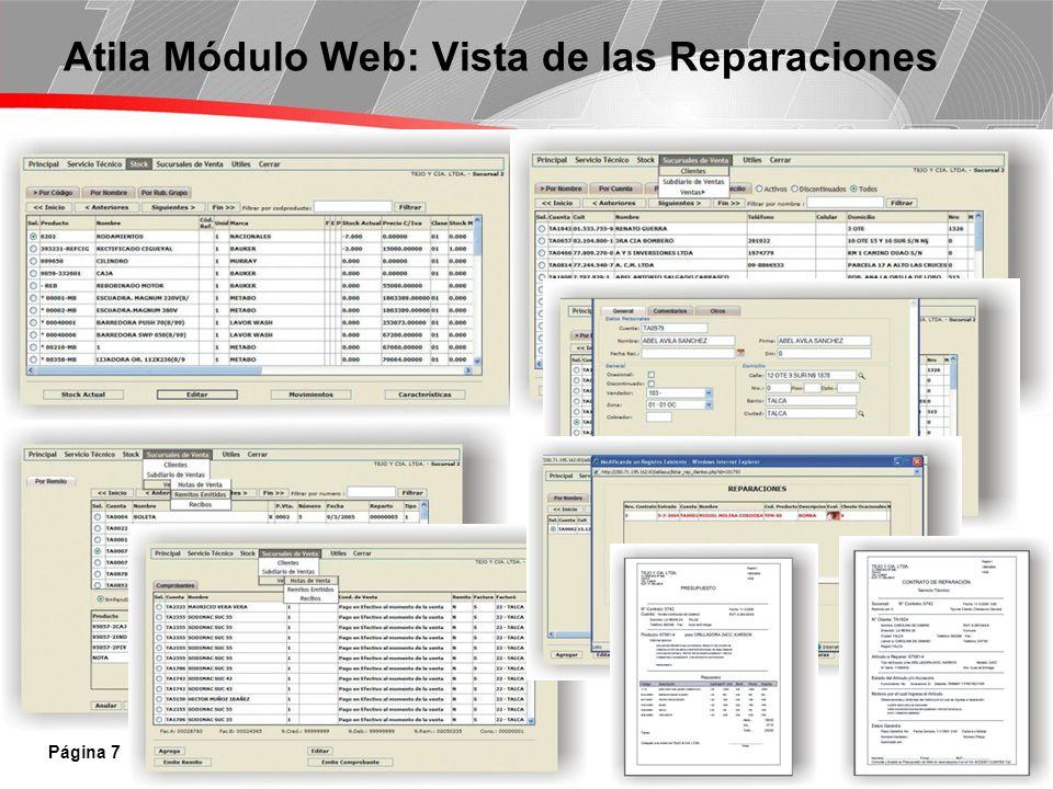 Página 7 Atila Módulo Web: Vista de las Reparaciones