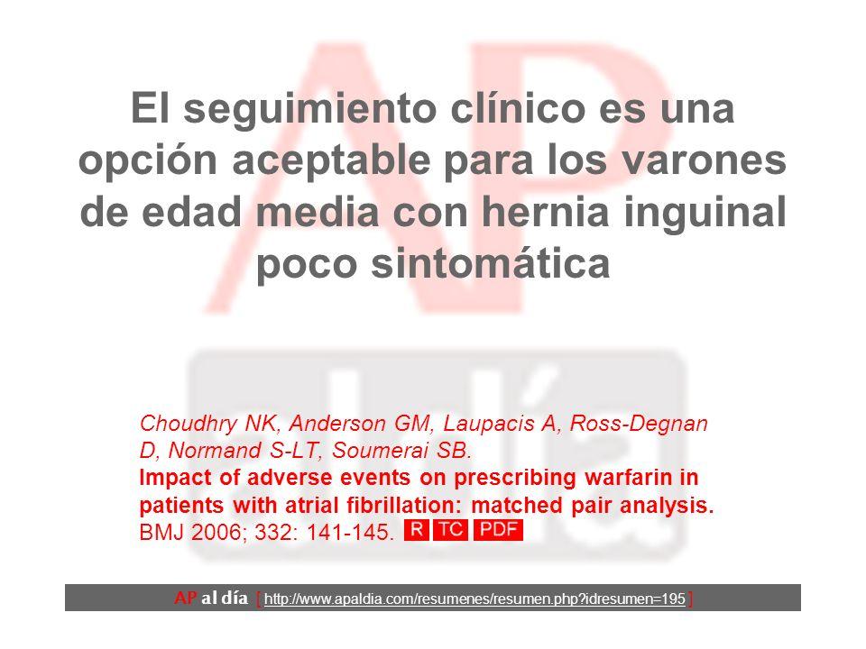 El seguimiento clínico es una opción aceptable para los varones de edad media con hernia inguinal poco sintomática Choudhry NK, Anderson GM, Laupacis A, Ross-Degnan D, Normand S-LT, Soumerai SB.