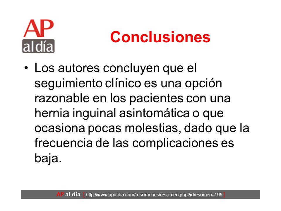 AP al día [ http://www.apaldia.com/resumenes/resumen.php?idresumen=195 ] Resultados (5) En los pacientes que fueron operados inmediatamente se dio una
