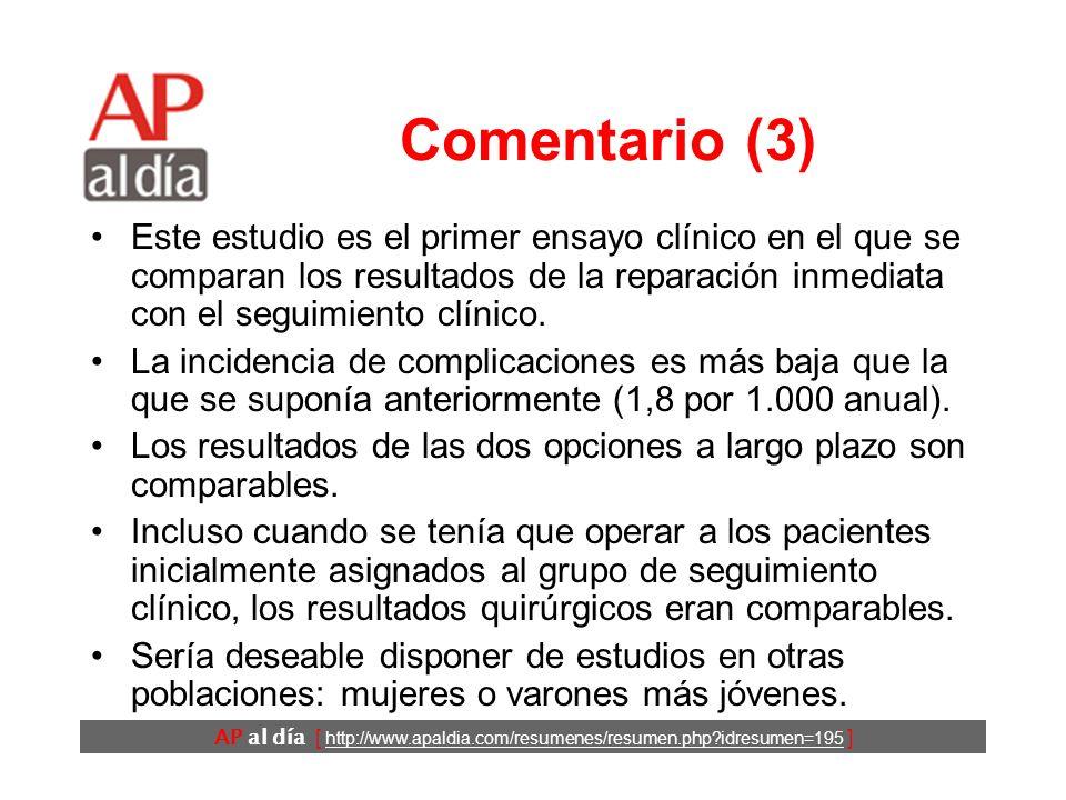 AP al día [ http://www.apaldia.com/resumenes/resumen.php idresumen=195 ] Comentario (2) La intervención temprana: –podría servir para prevenir las complicaciones.