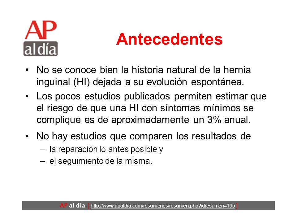 AP al día [ http://www.apaldia.com/resumenes/resumen.php?idresumen=195 ] Antecedentes No se conoce bien la historia natural de la hernia inguinal (HI) dejada a su evolución espontánea.