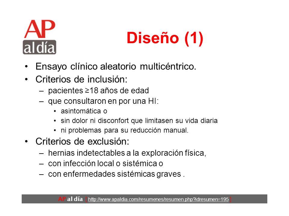 AP al día [ http://www.apaldia.com/resumenes/resumen.php?idresumen=195 ] Diseño (1) Ensayo clínico aleatorio multicéntrico.
