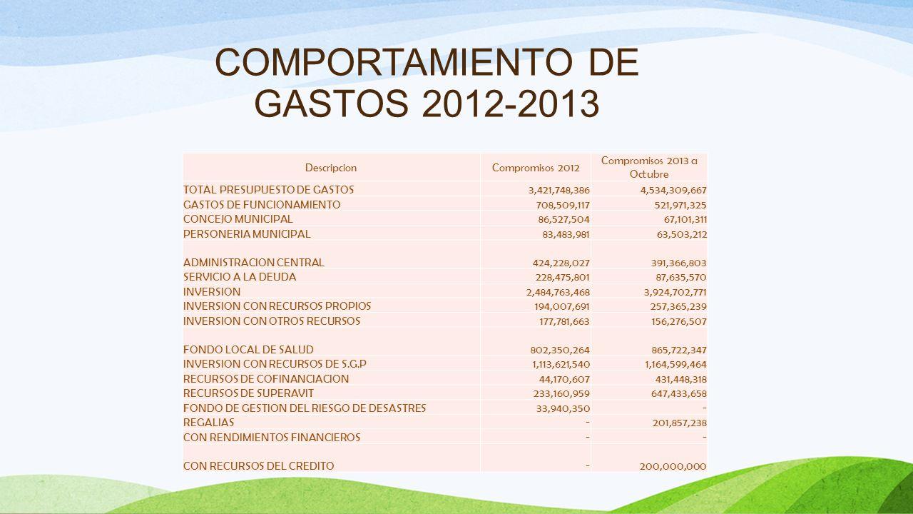 COMPORTAMIENTO DE LOS GASTOS A 31 DE OCTUBRE DE 2.013