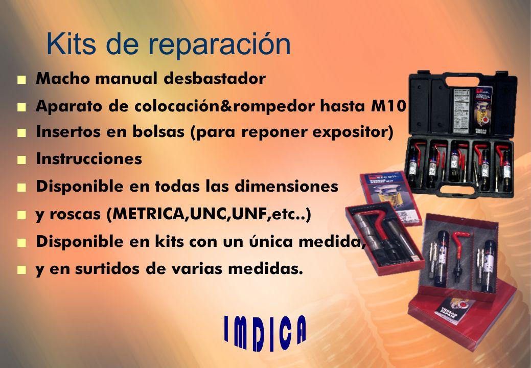 Kits de reparación n Macho manual desbastador n Aparato de colocación&rompedor hasta M10 n Insertos en bolsas (para reponer expositor) n Instrucciones