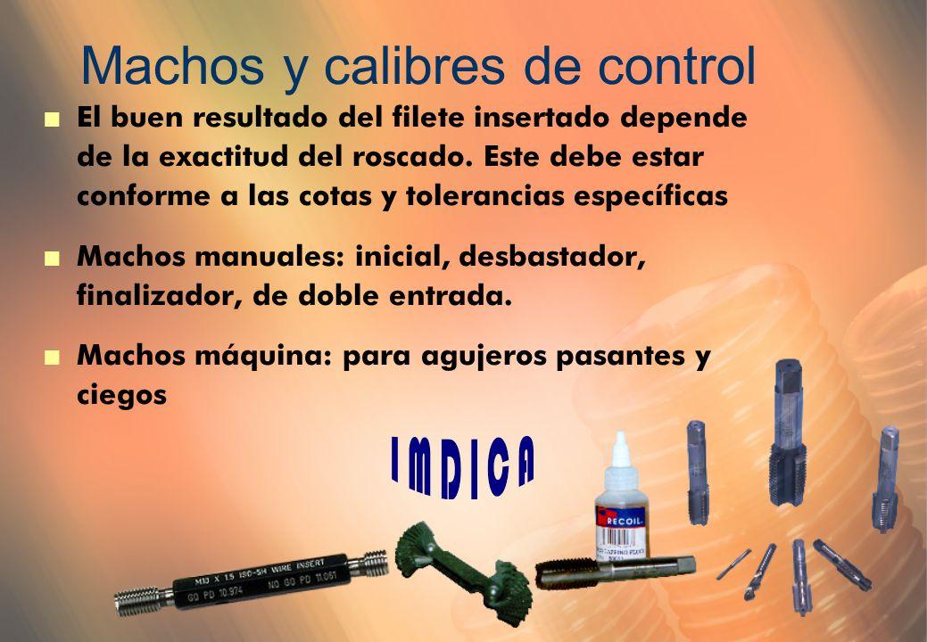 Machos y calibres de control n El buen resultado del filete insertado depende de la exactitud del roscado.