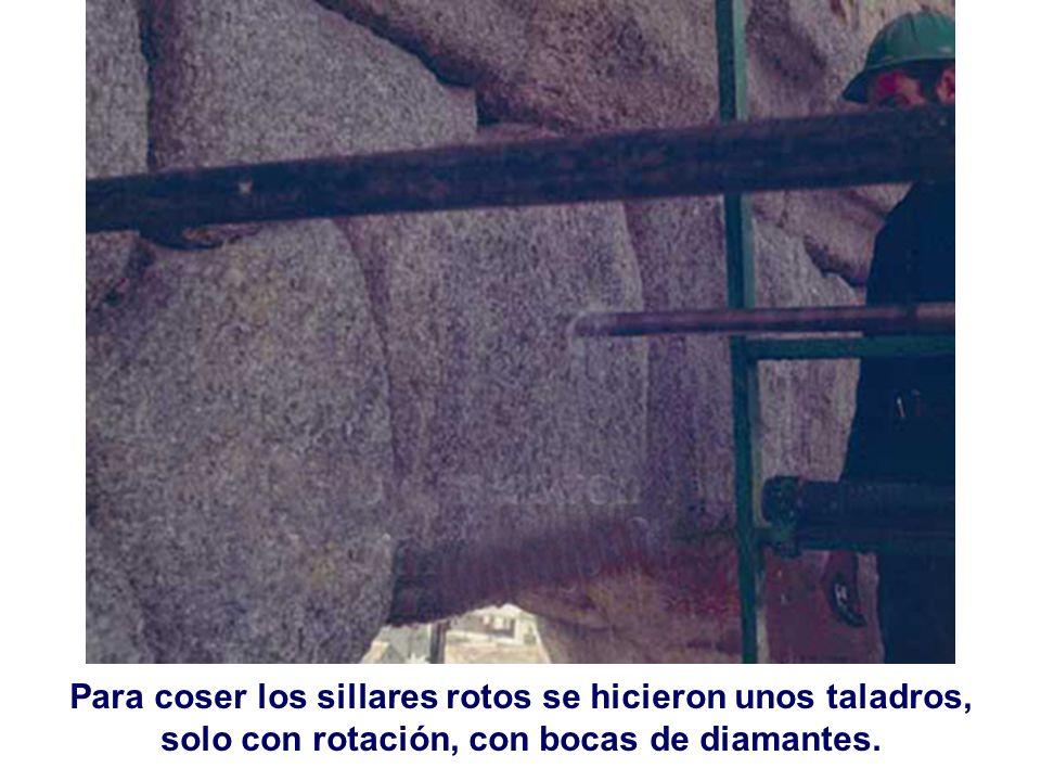 Para coser los sillares rotos se hicieron unos taladros, solo con rotación, con bocas de diamantes.