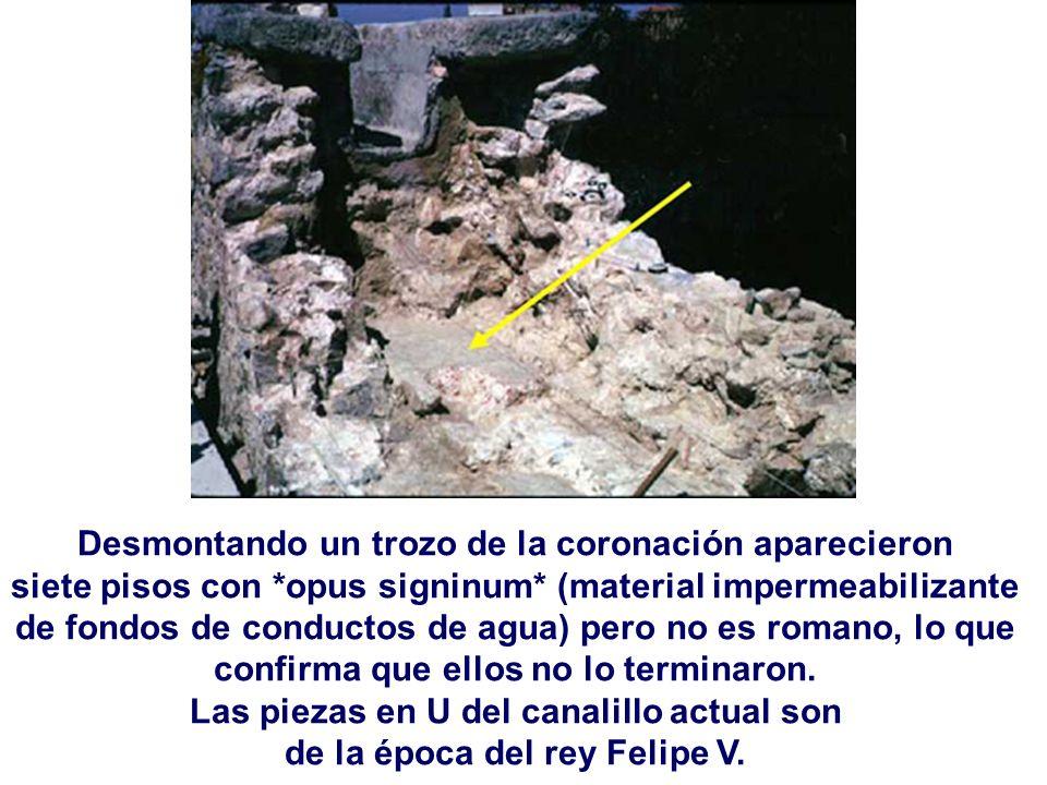 Desmontando un trozo de la coronación aparecieron siete pisos con *opus signinum* (material impermeabilizante de fondos de conductos de agua) pero no