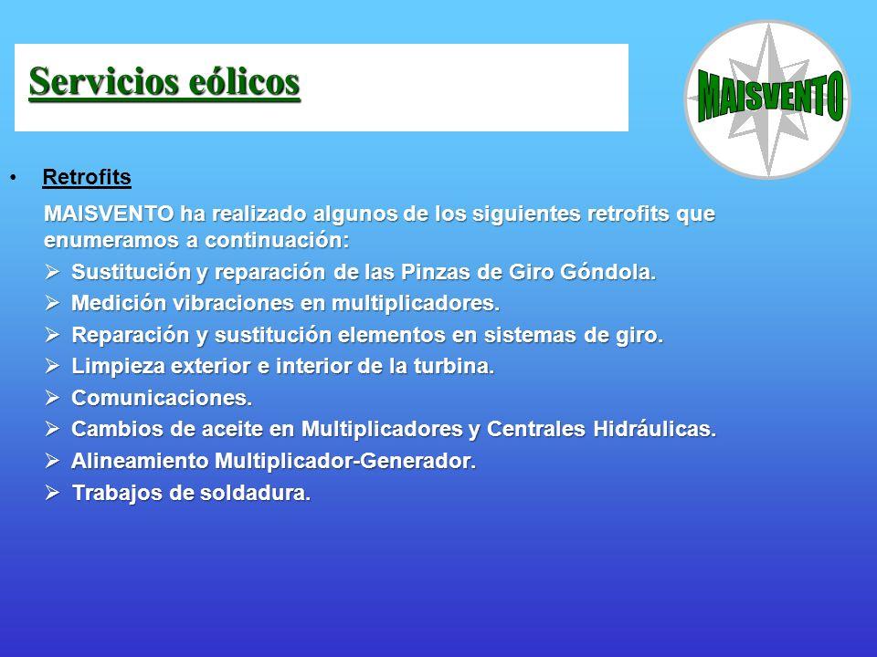 Retrofits MAISVENTO ha realizado algunos de los siguientes retrofits que enumeramos a continuación: Sustitución y reparación de las Pinzas de Giro Gón
