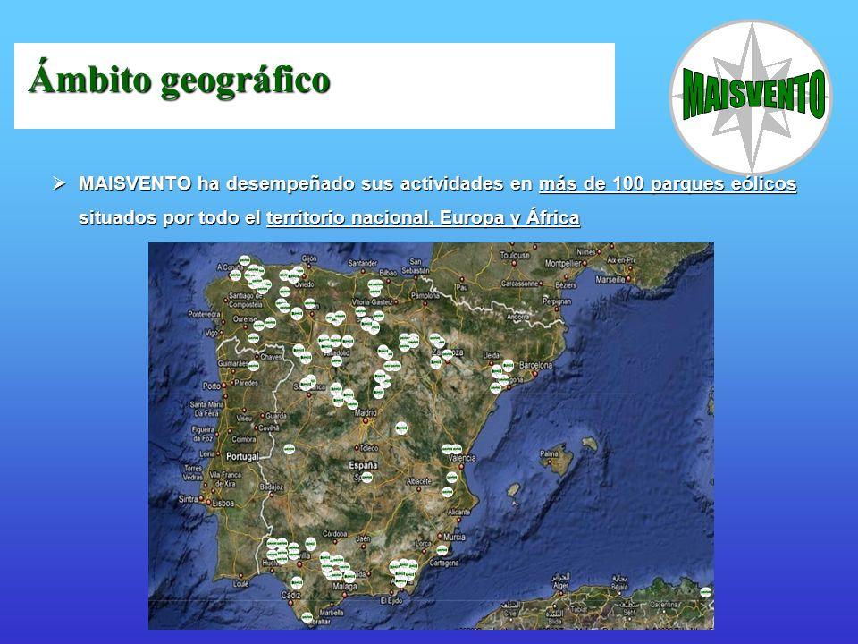 MAISVENTO ha desempeñado sus actividades en más de 100 parques eólicos situados por todo el territorio nacional, Europa y África MAISVENTO ha desempeñ