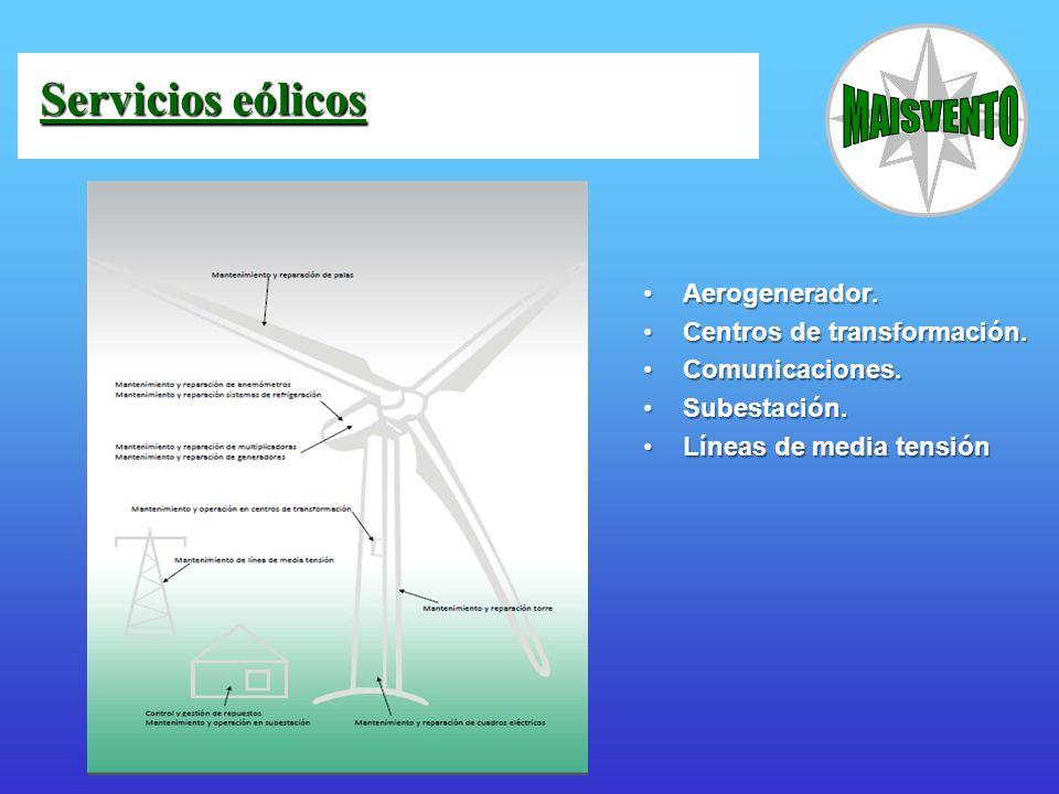 Aerogenerador.Aerogenerador. Centros de transformación.Centros de transformación. Comunicaciones.Comunicaciones. Subestación.Subestación. Líneas de me