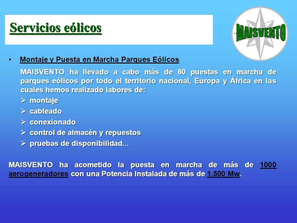 Montaje y Puesta en Marcha Parques Eólicos MAISVENTO ha llevado a cabo más de 60 puestas en marcha de parques eólicos por todo el territorio nacional,