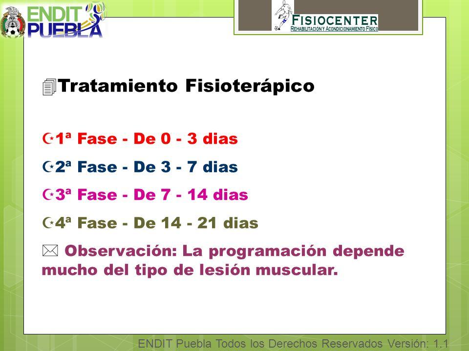 ENDIT Puebla Todos los Derechos Reservados Versión: 1.1 4Tratamiento Fisioterápico Z1ª Fase - De 0 - 3 dias Z2ª Fase - De 3 - 7 dias Z3ª Fase - De 7 - 14 dias Z4ª Fase - De 14 - 21 dias * Observación: La programación depende mucho del tipo de lesión muscular.
