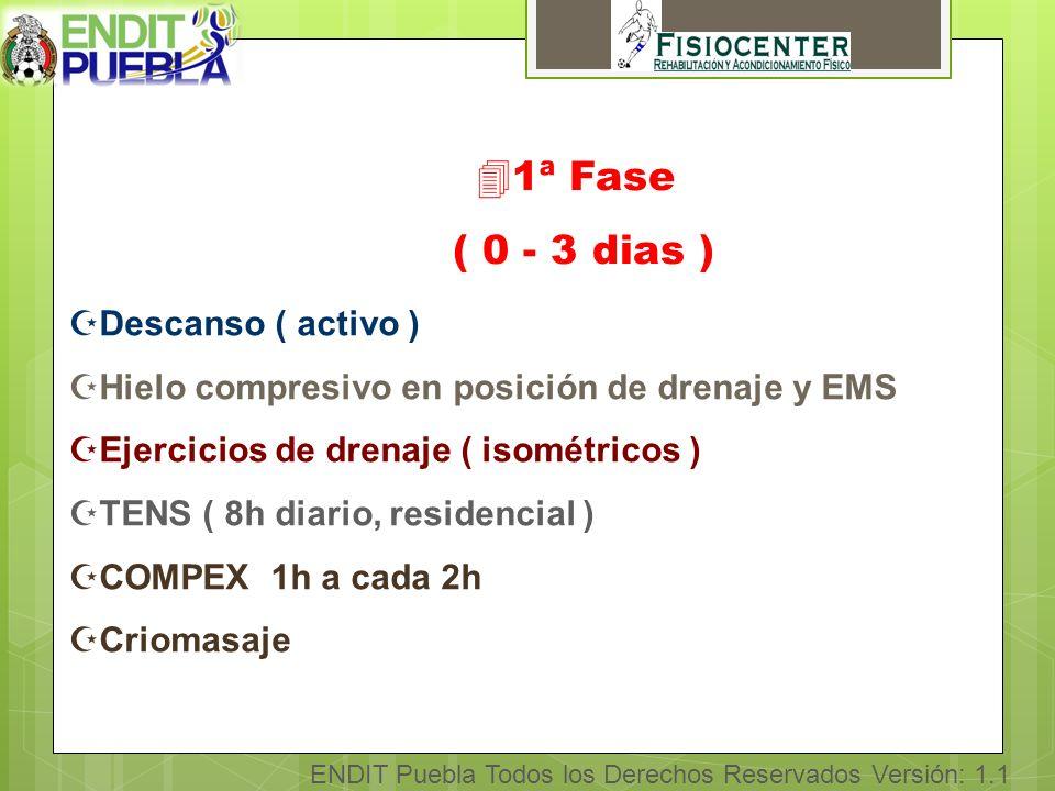 41ª Fase ( 0 - 3 dias ) ZDescanso ( activo ) ZHielo compresivo en posición de drenaje y EMS ZEjercicios de drenaje ( isométricos ) ZTENS ( 8h diario, residencial ) ZCOMPEX 1h a cada 2h ZCriomasaje