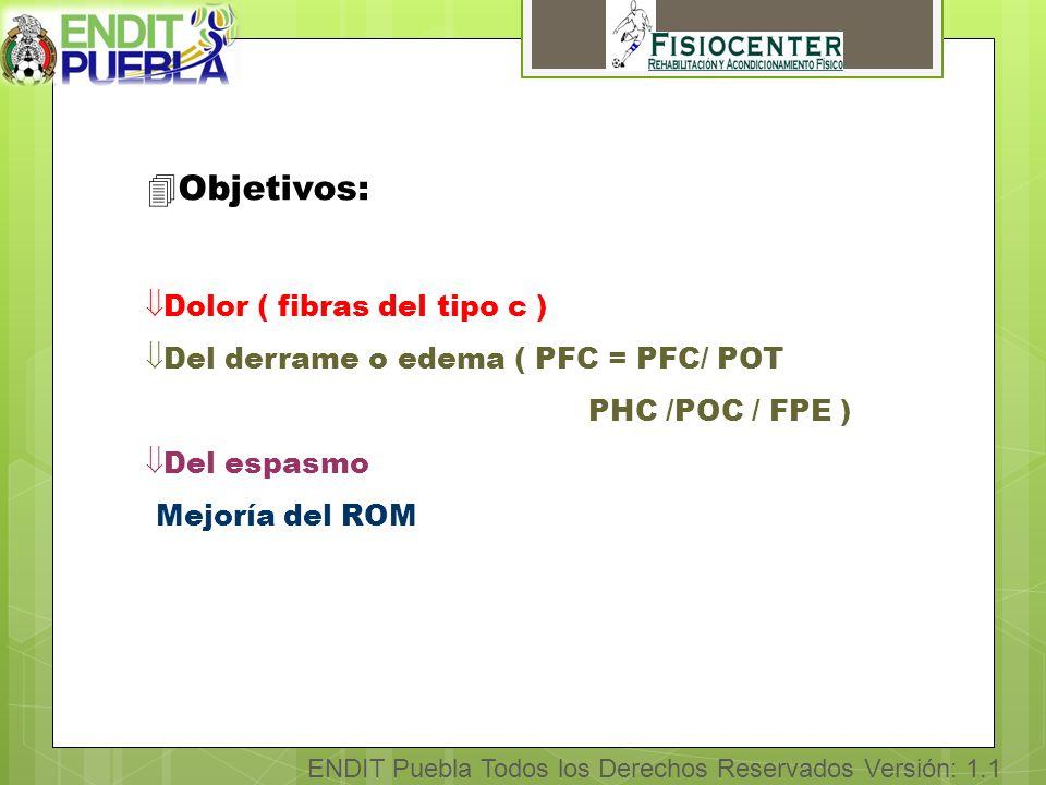 ENDIT Puebla Todos los Derechos Reservados Versión: 1.1 4Objetivos: Dolor ( fibras del tipo c ) Del derrame o edema ( PFC = PFC/ POT PHC /POC / FPE ) Del espasmo Mejoría del ROM