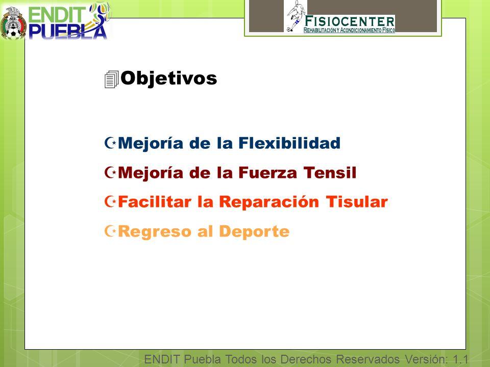 ENDIT Puebla Todos los Derechos Reservados Versión: 1.1 4Objetivos ZMejoría de la Flexibilidad ZMejoría de la Fuerza Tensil ZFacilitar la Reparación Tisular ZRegreso al Deporte