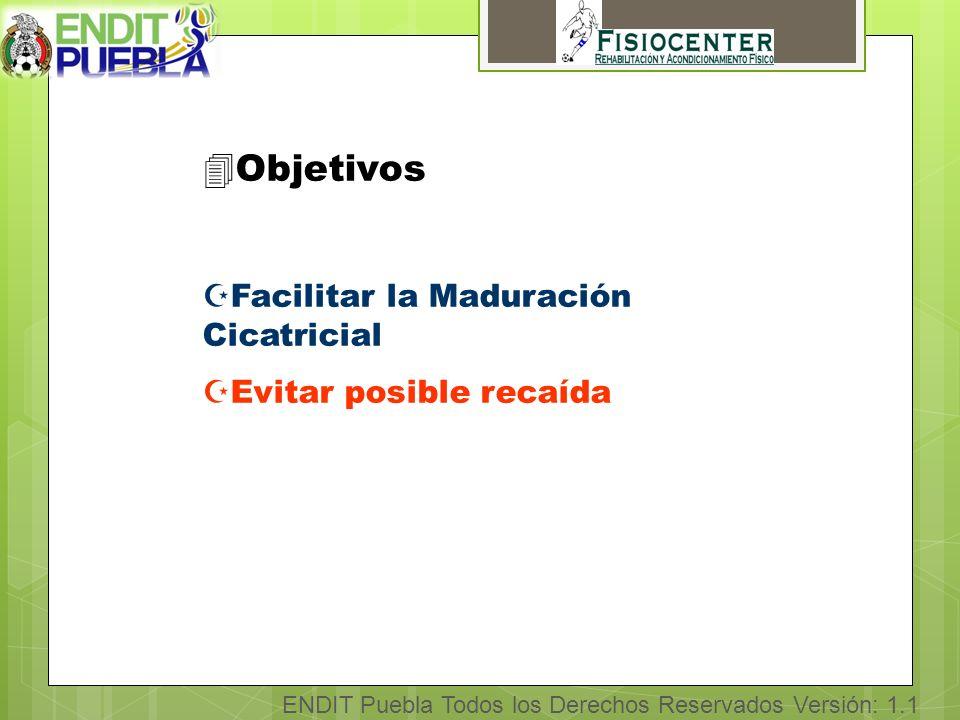 ENDIT Puebla Todos los Derechos Reservados Versión: 1.1 4Objetivos ZFacilitar la Maduración Cicatricial ZEvitar posible recaída