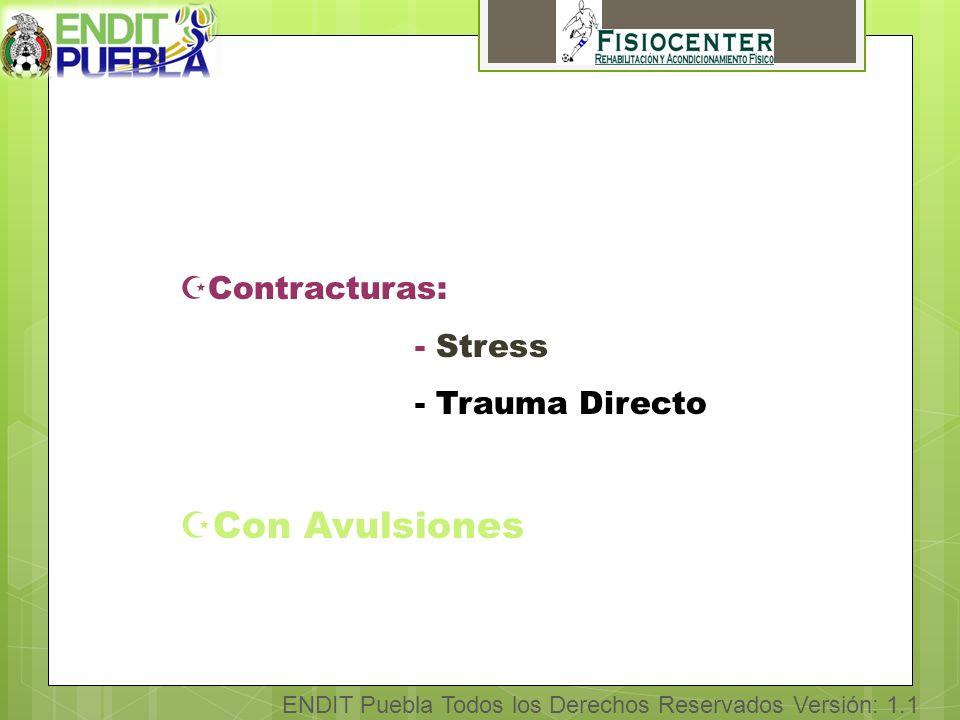 ENDIT Puebla Todos los Derechos Reservados Versión: 1.1 ZContracturas: - Stress - Trauma Directo ZCon Avulsiones
