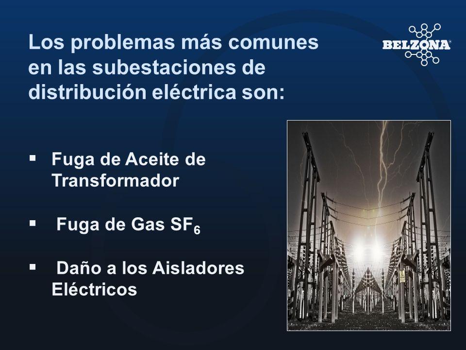 Los problemas más comunes en las subestaciones de distribución eléctrica son: Fuga de Aceite de Transformador Fuga de Gas SF 6 Daño a los Aisladores E