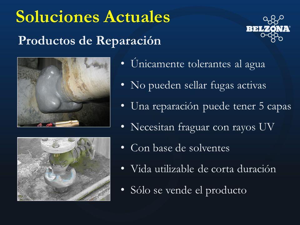 Soluciones Actuales Productos de Reparación Únicamente tolerantes al agua No pueden sellar fugas activas Una reparación puede tener 5 capas Necesitan