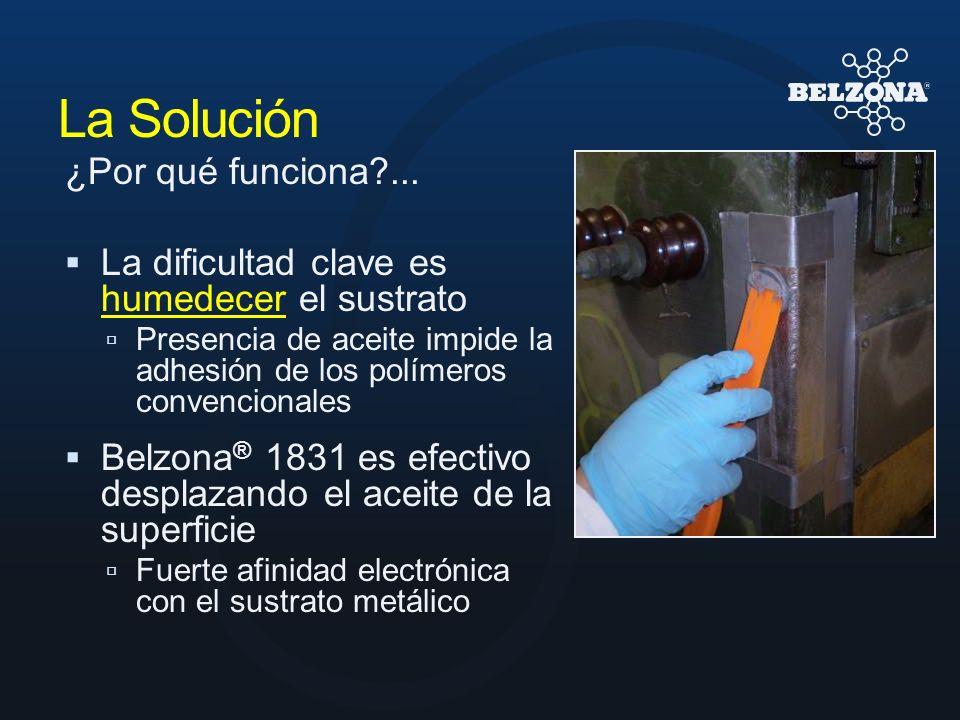 La Solución ¿Por qué funciona?... La dificultad clave es humedecer el sustrato Presencia de aceite impide la adhesión de los polímeros convencionales