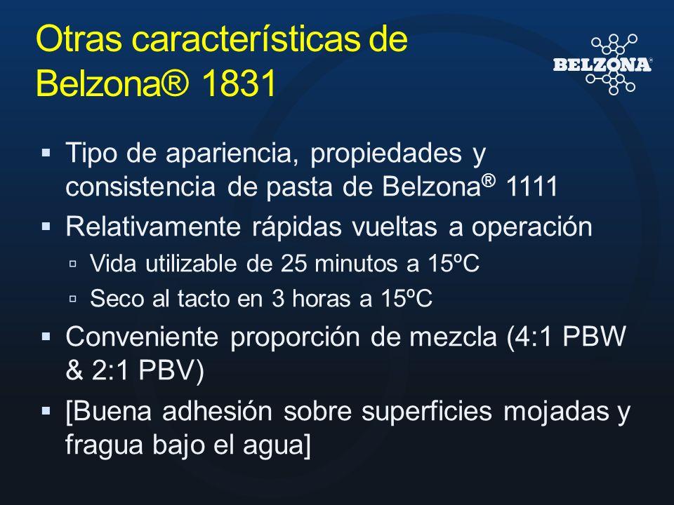 Otras características de Belzona® 1831 Tipo de apariencia, propiedades y consistencia de pasta de Belzona ® 1111 Relativamente rápidas vueltas a opera