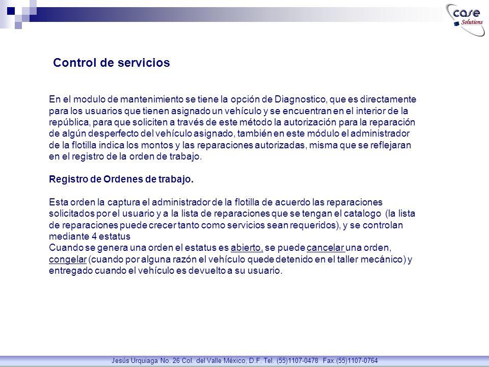Sistema de Control Vehicular Jesús Urquiaga No.26 Col.
