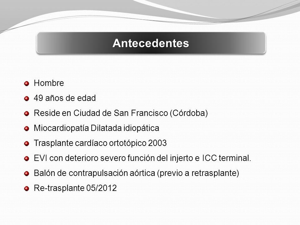 AntecedentesAntecedentes Hombre 49 años de edad Reside en Ciudad de San Francisco (Córdoba) Miocardiopatía Dilatada idiopática Trasplante cardíaco ort