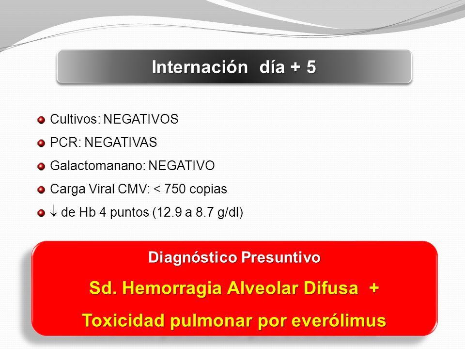 Internación día + 5 Cultivos: NEGATIVOS PCR: NEGATIVAS Galactomanano: NEGATIVO Carga Viral CMV: < 750 copias de Hb 4 puntos (12.9 a 8.7 g/dl) Diagnóst