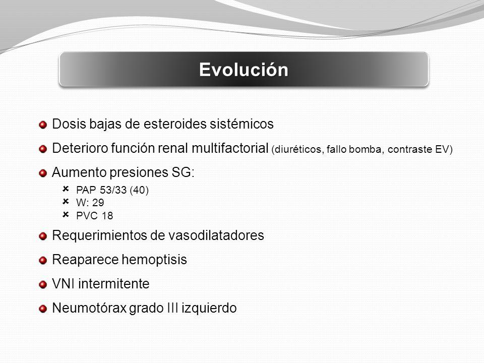 EvoluciónEvolución Dosis bajas de esteroides sistémicos Deterioro función renal multifactorial (diuréticos, fallo bomba, contraste EV) Aumento presion