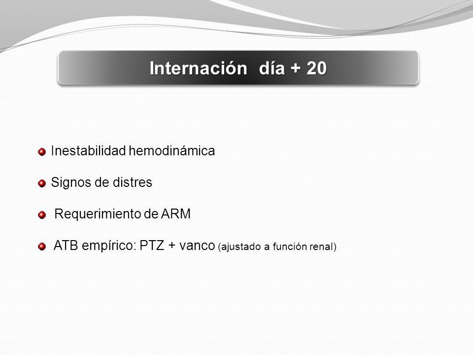 Internación día + 20 Inestabilidad hemodinámica Signos de distres Requerimiento de ARM ATB empírico: PTZ + vanco (ajustado a función renal)
